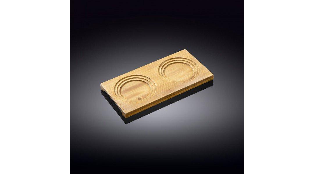 Бамбуковая подставка двухсекционная 20см х 10см(WL-771011/A)