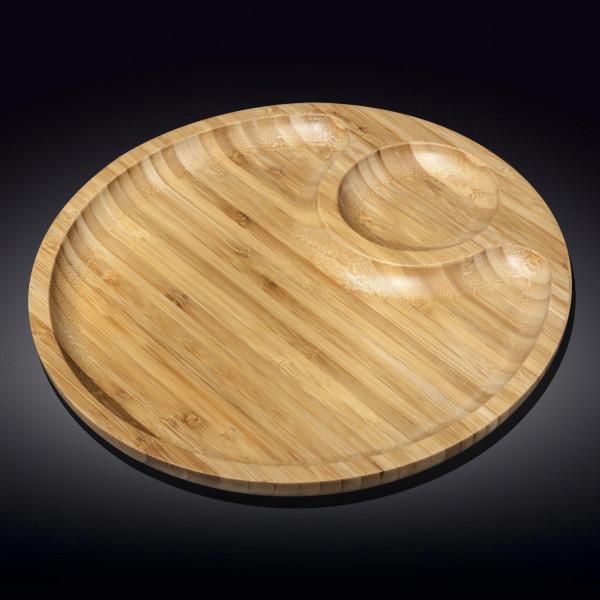 Бамбуковое блюдо круглое Wilmax двухсекционное 50см(WL-771201/A)